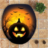 Halloween Pumpkin Withered Tree Printed 3Pcs Bathroom Mats Set