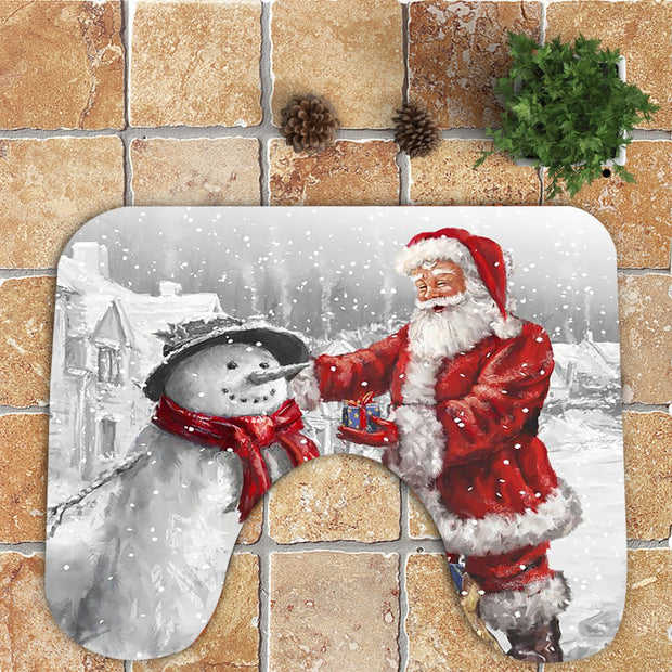 Father Christmas and Snowman Pattern 3Pcs Bathroom Mats Set