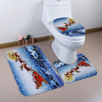 3Pcs Christmas Sled Moon Toilet Bath Rugs Set