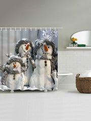 Snowman Printed Fabric Waterproof Shower Curtain