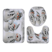 Christmas Snowmen Family Pattern 3 Pcs Bathroom Toilet Mat