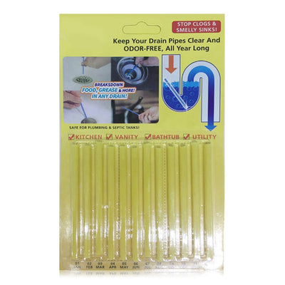 Drain Cleaner Sticks Deodorizer Order Free Sewer Detergent for Toilet Kitchen Bathtub 12pcs / Set