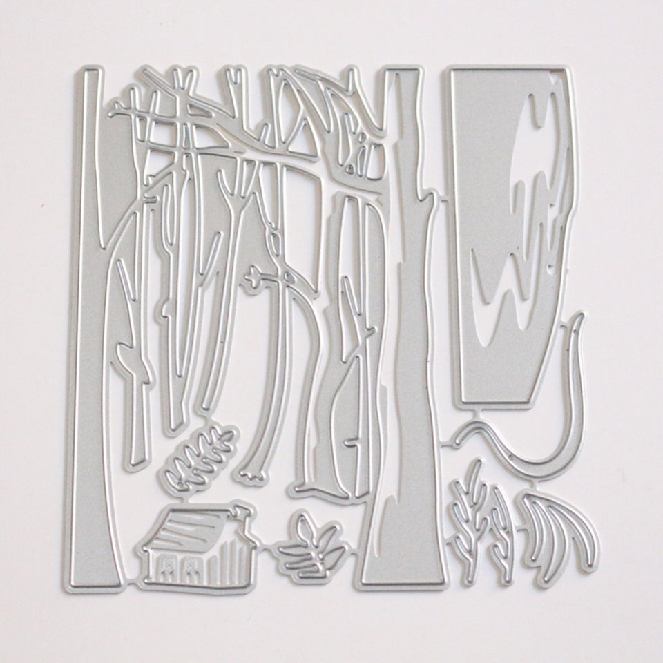 Tree Pattern Carbon Steel Stencil Template Mould for DIY Scrapbook Album Paper Card Embossing Craft Decoration