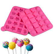 20-hole Flower-shaped Heart-shaped Square Combination Silicone Lollipop Mold