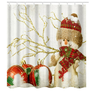 Christmas Snowman Print Fabric Waterproof Shower Curtain