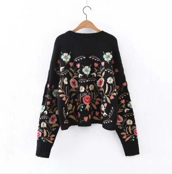 Women Sweater Fashion Floral Embroidery Pullover Streetwear Sweaters