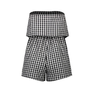 Strapless Tube Top Plaid Romper