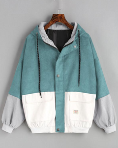 Loose Patchwork Hooded Baseball Tooling Jacket
