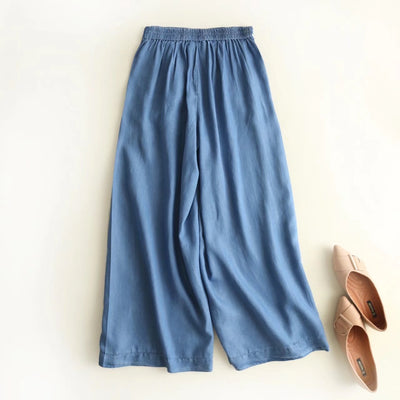 2018 spring and summer new European and American Wind women's wear beads, cowboy, wide leg pants.