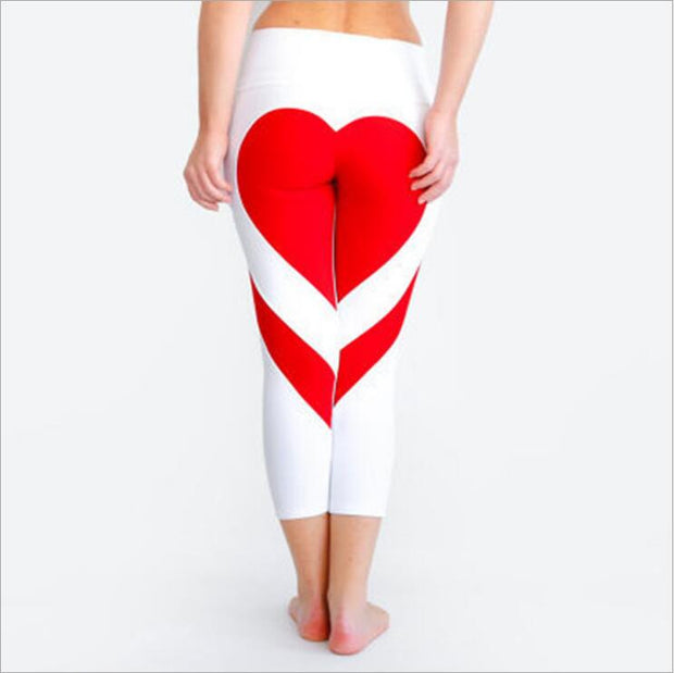 Buttock Love Heart Bang Color Splicing Yoga Gym Leggings