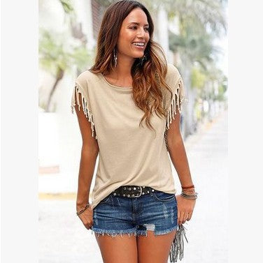 Round neck short sleeve cuffs tassel T-shirt