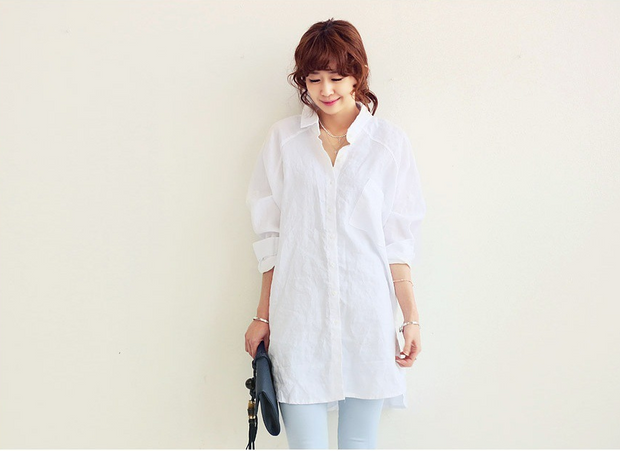 Mixed Cotton and Linen Shirt Dress | Fashion Women Shirt for Autumn