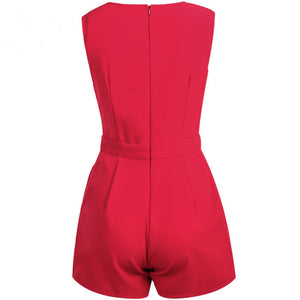 Women Sexy Crossed Waist Back Zipper Romper