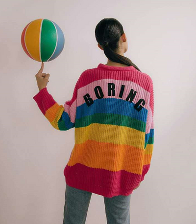 Spring and autumn new rainbow stripes V-neck stretch loose knit jacket cardigan sweater