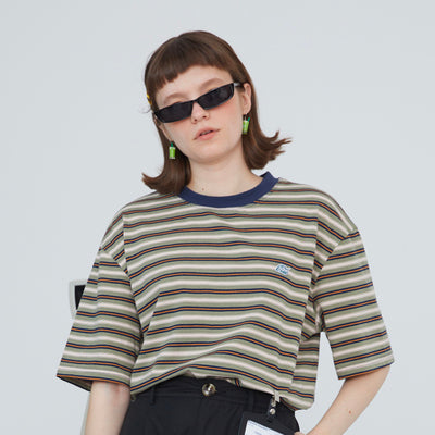 Wild casual cotton trend striped casual embroidery T-shirt female 2019
