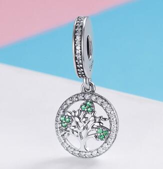 925 Sterling Silver Tree of Life Green Pendant Necklace accessories