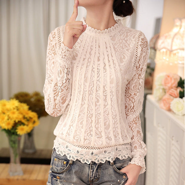 Lace Floral Stitching Hollow Out Shirt