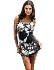 Women's Vintage Dress Sleeveless Skull Printed Summer Vintage Vest Dress