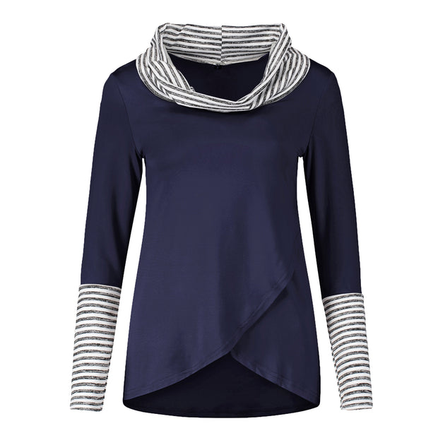 Fashion Striped Turtleneck Colorblock Long Sleeve Top
