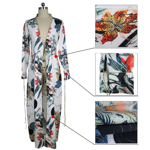 2017 foreign trade Amazon supply Europe and the United States fashion long-sleeved cardigan cloak jacket printed gold-rimmed swimwear blouse