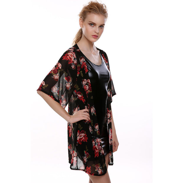 Long chiffon kimono sun protection clothing cardigan in rose