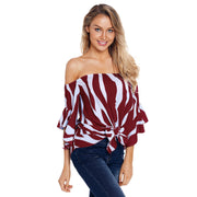 Off Shoulder trumpet sleeves striped Blouse