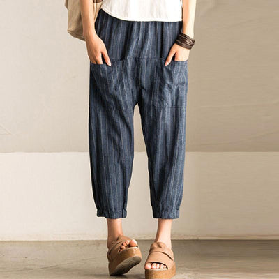 Women Casual Vintage High Elastic Waist Pockets Striped Baggy Harem Pants Turnip Trousers Work OL Wide Leg Pantalon
