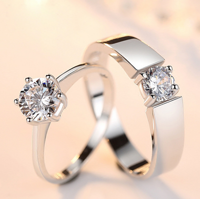 Fashion Crystal CZ Stone Wedding Engagement Rings for Couples Stainless Steel Adjustable Ring for women men