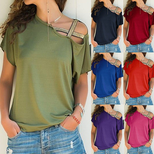 AliExpress Amazon spring and summer explosion models Europe and the United States casual shoulder cross irregular short-sleeved T-shirt women's shirt