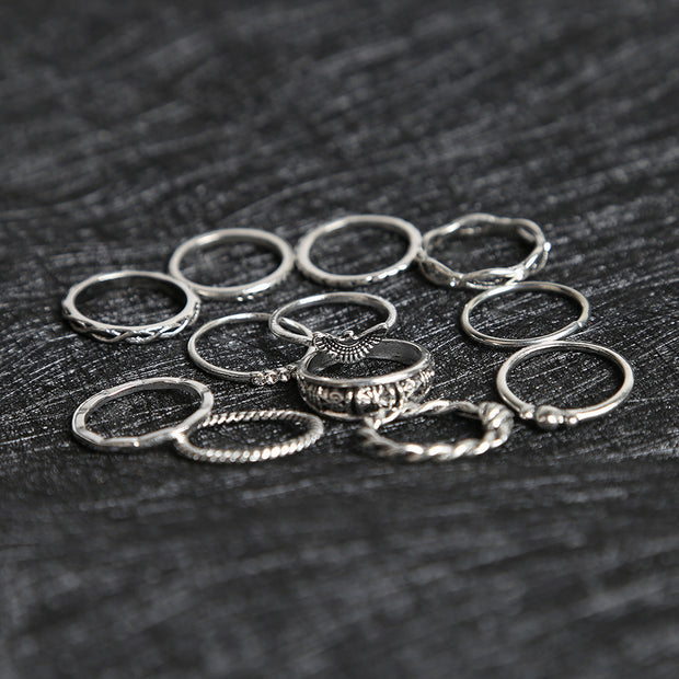 Vintage Diamond Ring Set Twelve Combination Eagle Winding Knotted Carved 12 Piece Set Ring