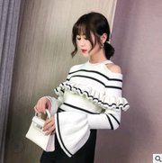 2018 autumn and winter women's new retro horizontal stripes ruffled off-the-shoulder trumpet sleeves hanging neck knit sweater blouse