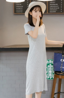 Summer Casual Short-sleeve Solid Slit Side Midi Dress