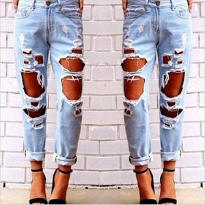 Aliexpress explosion Europe Code loose wild sexy big hole beggar exaggerated boyfriend jeans