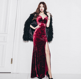 Spaghetti Low-cut Velvet Slit Gown