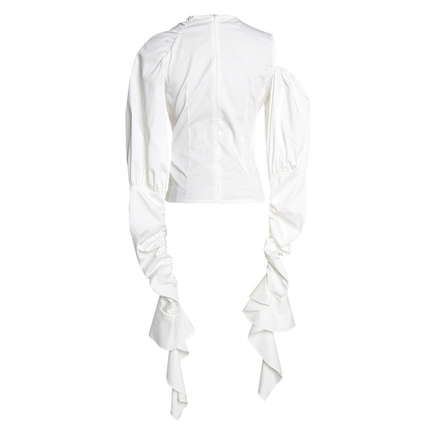 French open-shouldered blouse for women in spring and summer of 2019