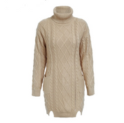 high-necked long Sleeve Solid sweater