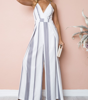 Digital printing sling strapless Wide Leg Jumpsuit