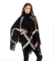 Autumn and winter irregular cloak shawl female foreign trade Europe and the United States new plaid tassel high collar pullover sweater sweater