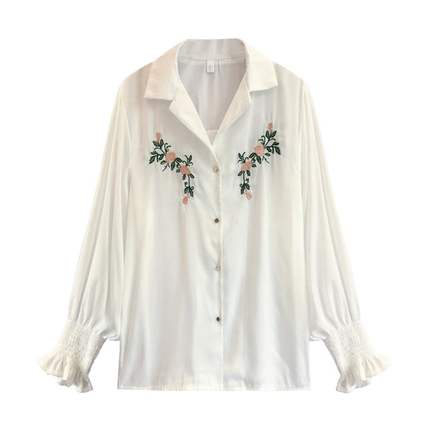 New Korean embroidery chiffon long-sleeved Lantern sleeve Blouse