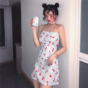 Autumn women's Korean version of chic style playful red cherry print sexy slim small strap dress dress wear
