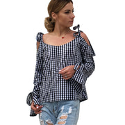 Plaid cross strap long sleeve bowknot blouse