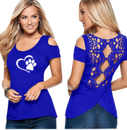 Explosive round neck short-sleeved off-the-shoulder print blouse t-shirt