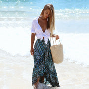 Bohemian seaside new printed split skirt