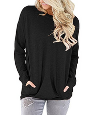 Women's new round neck bat long sleeve pocket decorative T-shirt