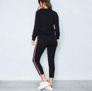 Women Leisure Stripe Sports Suit