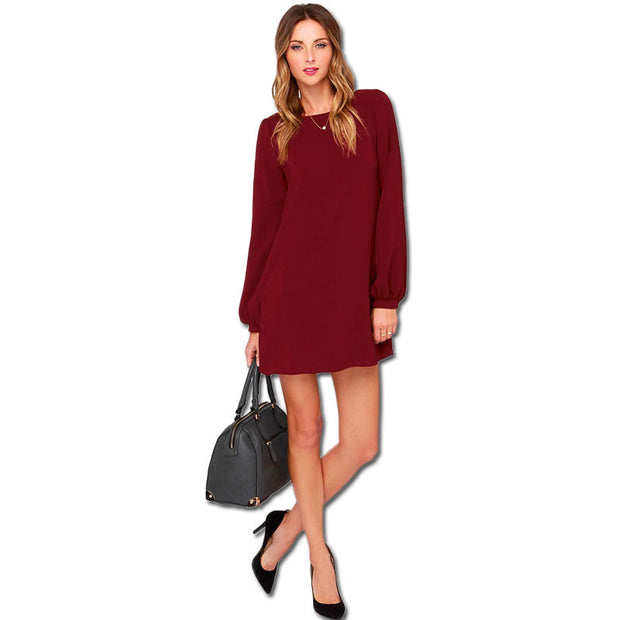 Casual Long-sleeved Solid Loose Mini Dress