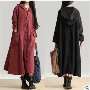 Vintage Cotton Linen Hooded Long Coat