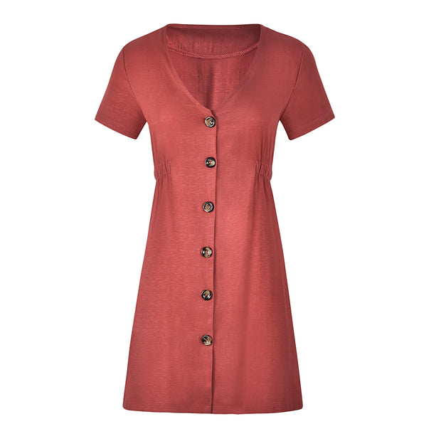 New Women's Solid Color Button Up Mini Dress