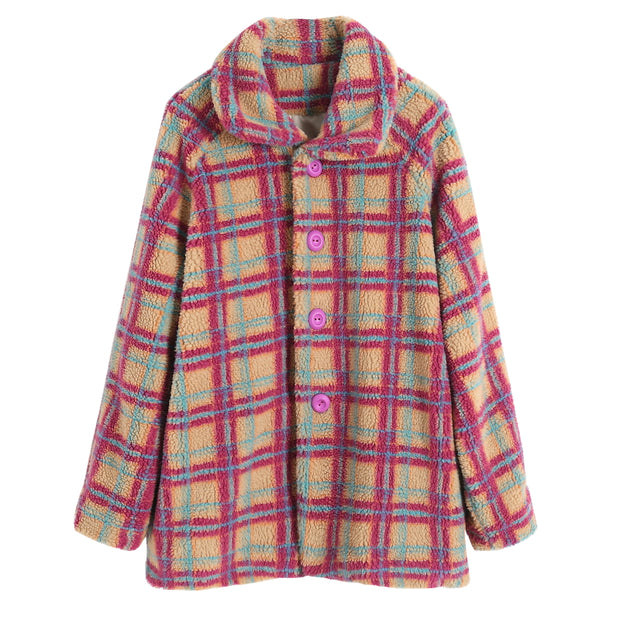 Red and blue plaid lambskin lapel long sleeved silhouette coat