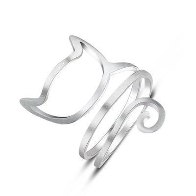 925 Sterling Silver Personalized Silver Wound Drawing Cute OutlineRing